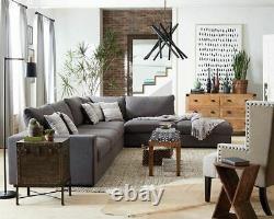 6 Pc Linen Blend Charcoal Grey Modular Sofa Sectional Living Room Furniture Set