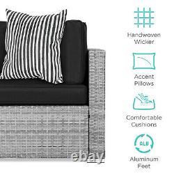 7-Piece Modular Outdoor Wicker Sofa Set Black/Grey with Protective Cover