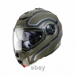 Caberg Droid Pure, Matt Black Orange / Green Grey, Flip Front Motorcycle Helmet