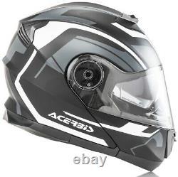 Casco Helmet Moto Modulare Apribile Acerbis Serel Nero Grigio Black Grey Tg S