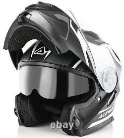 Casco Helmet Moto Modulare Apribile Acerbis Serel Nero Grigio Black Grey Tg XL