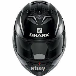 Casco Modulare Shark Evo-es Yari Mat Black Grey Opac Mentoniera Ribaltabile Tg L