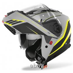 Casco moto Airoh Phantom s Beat Grey yellow black flip up helmet casque modular