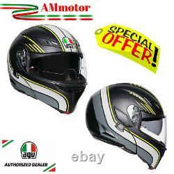Casque Modulable Agv Compact ST Boston Black Grey Yellow De Moto Helmet Modular