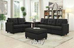 Contemporary Linen Modular Modern Sofa Microsuede Reversible Chaise with Ottoman