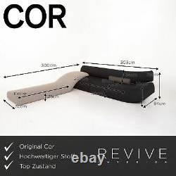 Cor Lava Fabric Corner Sofa Black Grey Modular Sofa Couch #14977