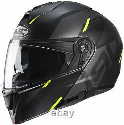 HJC i90 Aventa Modular Helmet MATTE BLACK GREY HI VIS