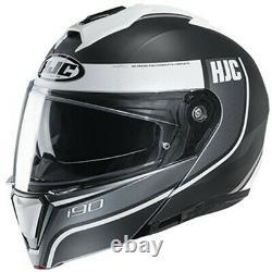 HJC i90 Davan Modular Flip-Up Full-Face Motorcycle Helmet -SF Black/White/Grey