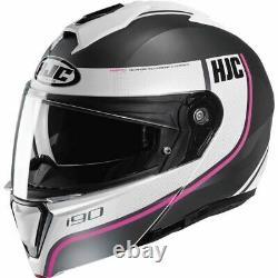 HJC i90 Davan Modular Helmet Black/Grey/White/Pink, All Sizes