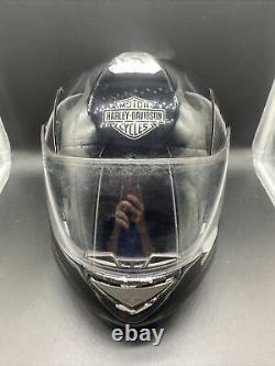 Harley Davidson Black with Gray Ghost Flames Modular Motorcycle Helmet Medium