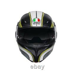 Helmet Modular AGV Compact Boston Black Grey Yellow Motorcycle Sun Visor SZ XL