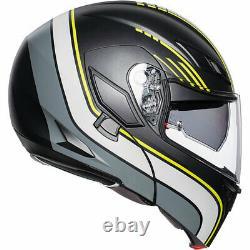 Helmet Modular AGV Compact St Boston Black Grey Yellow Motorcycle Sun Visor SZ L