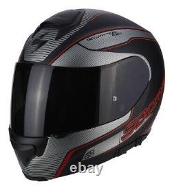 Helmet Modular Motorcycle Fiber Scorpion Exo-3000 Stroll Matte Black Grey Red S