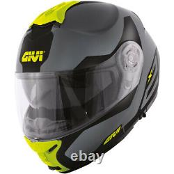 Helmet Modular Openable Motorcycle GIVI X21 Spirit Black Yellow Fluo Grey