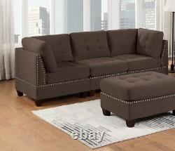Living Room Sofa Set Chairs Ottoman Corner Cushion Loveseat Sofa Black Coffee