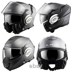 Ls2 Ff399 Valiant Modular Flip Front Full Face Motorcycle Helmet Matt Titanium