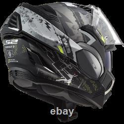 Ls2 Ff900 Valiant II Modular Flip Front Motorcycle Helmet Gripper Matt Titanium