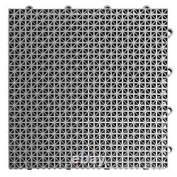 MotoFloor Modular Self Draining Garage Floor Tiles 40 sqft. Per Box BLACK / GRAY