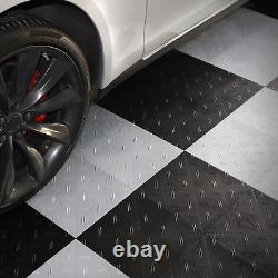 Motofloor Modular Garage Flooring Tiles, 48 Sq. Ft Box, Black & White New