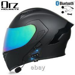 Motorcycle Bluetooth Helmet Flip Up Double Lens Modular Dot Approved Helmet