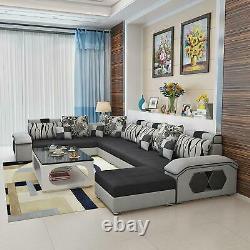Reversible Modular Wide Sectional Sofa Grey Black Ottoman Suede Microfiber NEW