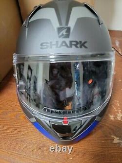 Shark EVO-One 2 Slasher Modular Helmet Gray/Black/Blue, Size Small