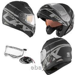 Snowmobile Helmet Electric Lens Modular CKX Tranz RSV Spy Mat Black Grey Large