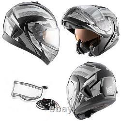 Snowmobile Helmet Electric Modular CKX Tranz 1.5 AMS Warrior Gray Black Large