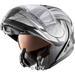 Snowmobile Helmet Electric Modular CKX Tranz 1.5 AMS Warrior Gray Black XLarge