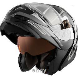 Snowmobile Helmet Modular Flip Up CKX Tranz RSV Offence Grey Black XLarge