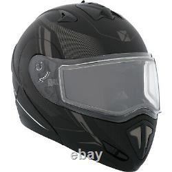 Snowmobile Helmet Modular Flip Up CKX Tranz RSV Recharge Black Grey Mat Large