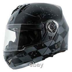 TORC T-27B Checker Medium Black/Gray Modular Helmet w Communication System