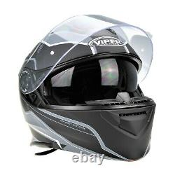 Viper Rs-v171 Bluetooth Flip Front Modular Motorcycle Crash Helmet Grey Zone
