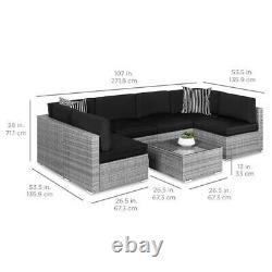 7-piece Modular Outdoor Wicker Sofa Set Noir/gris Avec Couvercle Protecteur