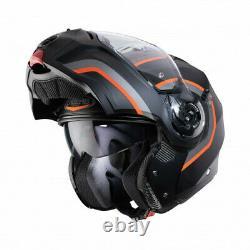 Caberg Droid Pure, Matt Noir Orange / Gris Vert, Casque De Moto Avant Flip