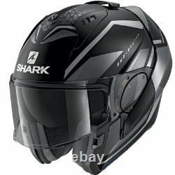 Casco Modulare Shark Evo-es Yari Mat Gris Noir Opac Mentoniera Ribaltabile Tg L