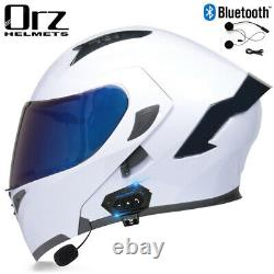 Casque De Moto Dot+bluetooth Headset+double Shield Full Face Flip Up Modular