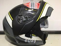Casque Modulaire Agv Compact Boston Black Grey Yellow Motorcycle Sun Visor Sz XL