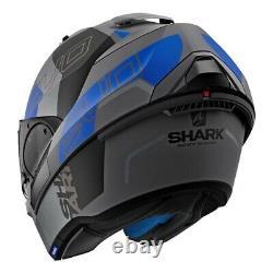 Casque Modulaire De Requin Evo-one 2 Slasher Mat Gris Foncé/noir/bleu