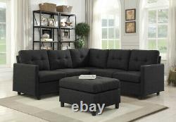 Chaise Réversible Réversible De Sofa Modulaire De Linge Contemporain Avec La Chaise Réversible Ottomane