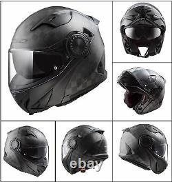 Ff313 Vortex Carbon Flip Up Urban Motorcycle Motorbike Road Crash Casque Noir