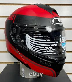Open Box Hjc I90 Davan Modular Motorcycle Helmet Noir/gris/rouge Taille Grande