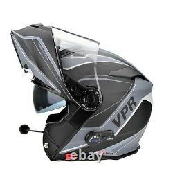 Viper Rs-v171 Bluetooth Blinc Flip Avant Casque De Moto + Pinlock Zone Gris