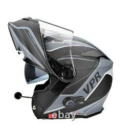 Viper Rs-v171 Bluetooth Flip Avant Modulaire Moto Crash Casque Zone Grise